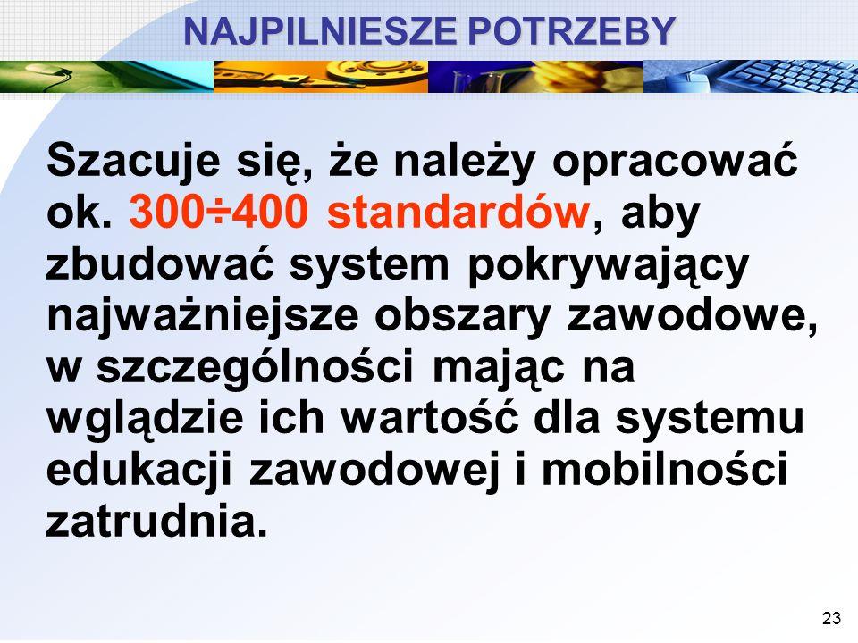 23 NAJPILNIESZE POTRZEBY Szacuje się, że należy opracować ok. 300÷400 standardów, aby zbudować system pokrywający najważniejsze obszary zawodowe, w sz
