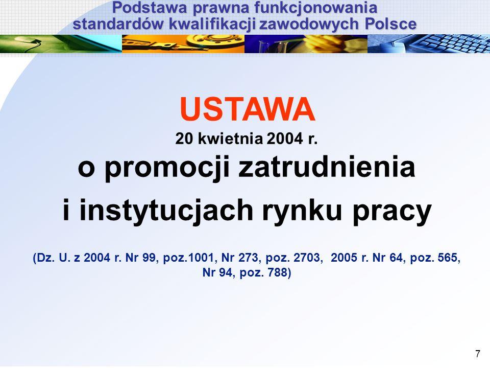 7 USTAWA 20 kwietnia 2004 r. o promocji zatrudnienia i instytucjach rynku pracy (Dz. U. z 2004 r. Nr 99, poz.1001, Nr 273, poz. 2703, 2005 r. Nr 64, p