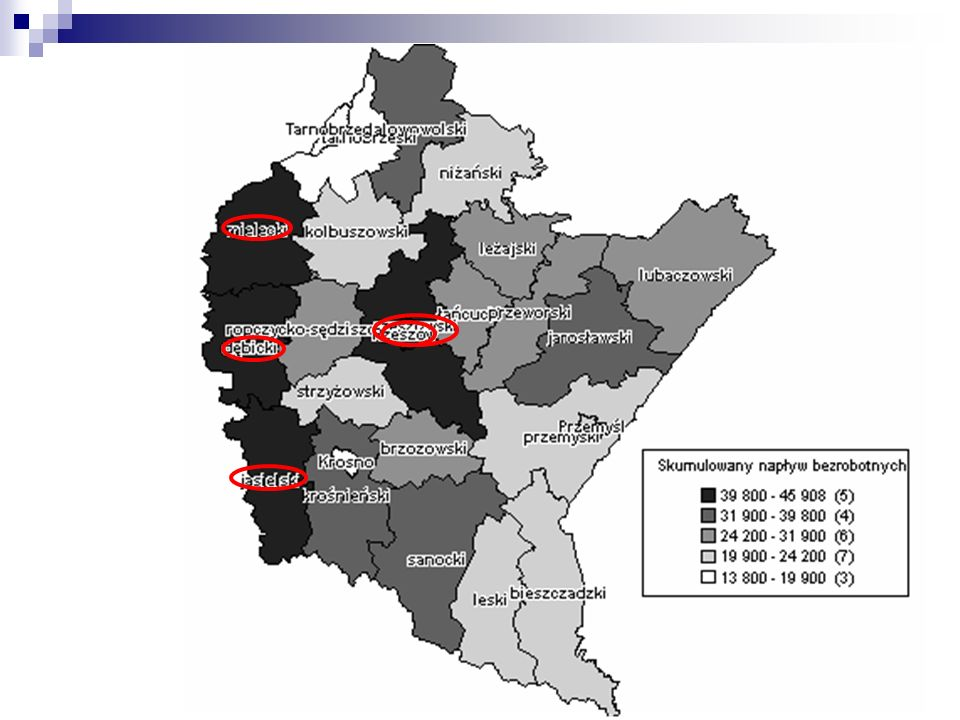 Wskaźnik nadwyżki podaży siły roboczej w powiatach woj.