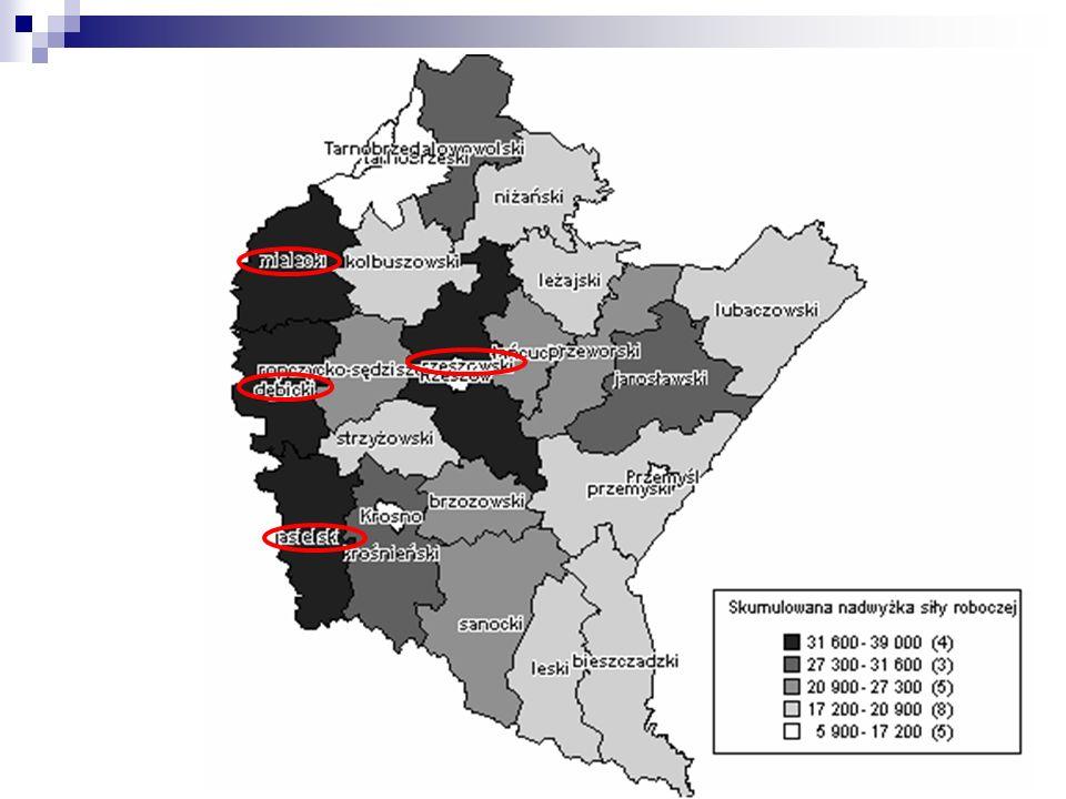 Wskaźnik intensywności nadwyżki (deficytu) zawoduw powiatach woj.