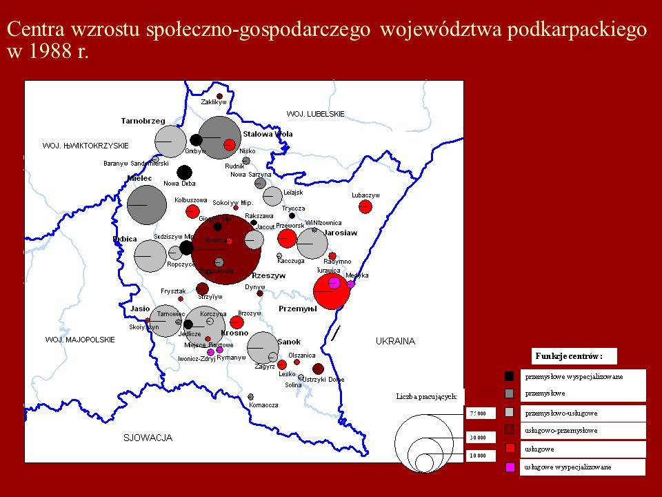 Centra wzrostu społeczno-gospodarczego województwa podkarpackiego w 1988 r.