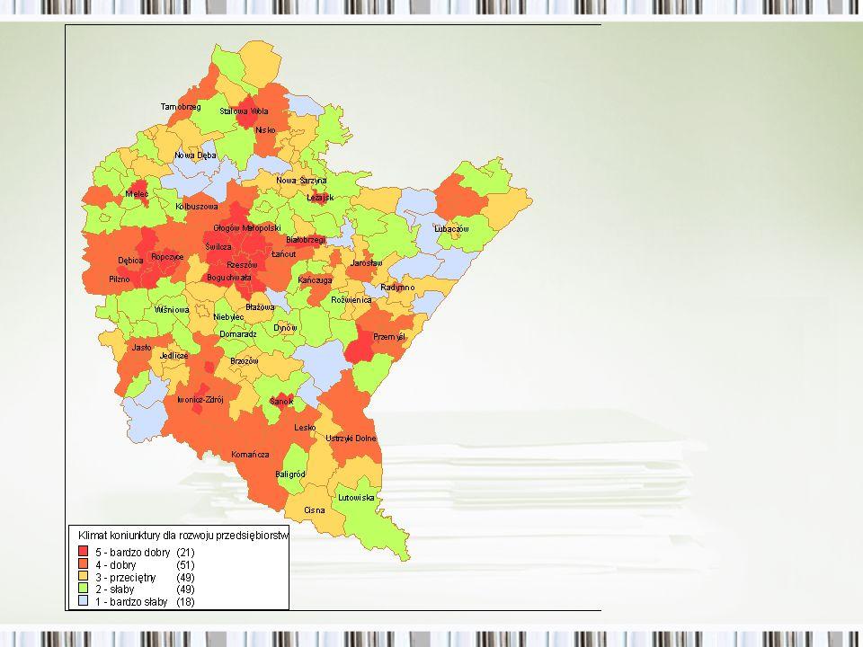 Klimat koniunktury dla rozwoju przedsiębiorstw na poziomie gmin Wyraźnie widać pasma rozwoju przedsiębiorstw wokół Rzeszowa, wzdłuż planowanej autostrady A4 oraz w miastach COP Gminy, gdzie silny wzrost ośrodka wpływa na wyniki powiatu – Leżajsk, Stalowa Wola, Mielec Gminy o dobrym klimacie do rozwoju przedsiębiorstw, ale jeszcze niewielkim dla poprawy sytuacji względnej całego regionu – Ropczyce, Kolbuszowa