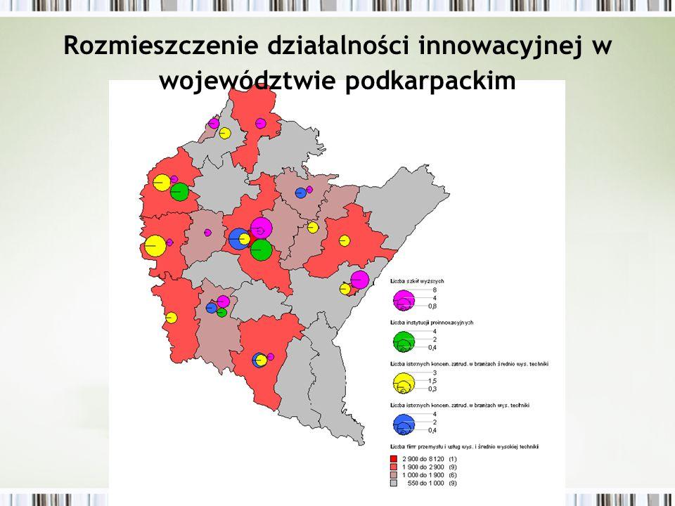 Rozmieszczenie działalności innowacyjnej w województwie podkarpackim