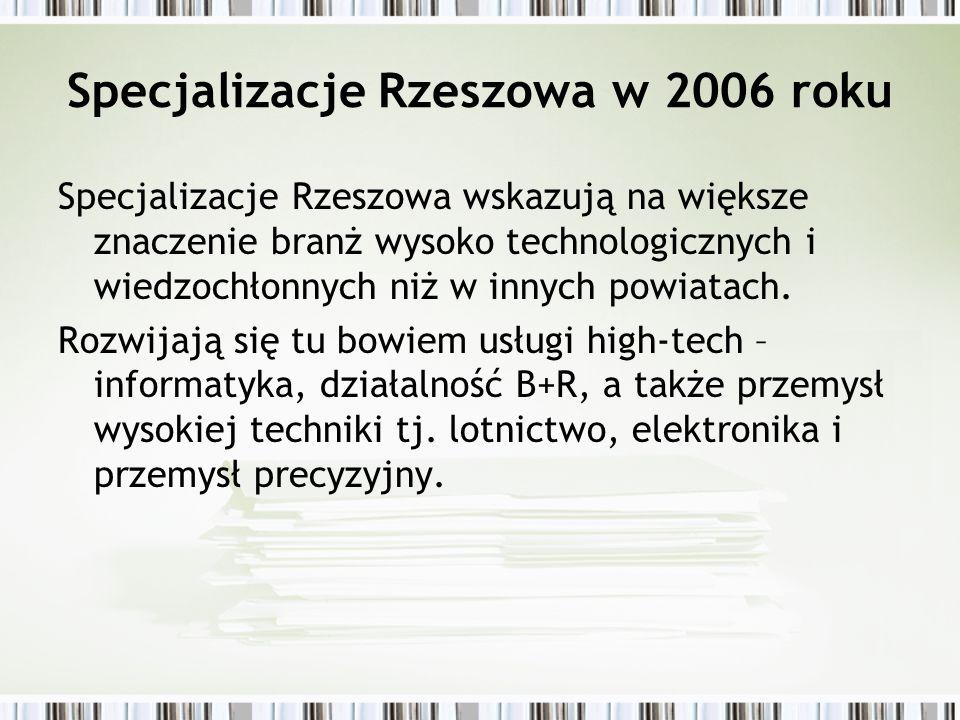Specjalizacje Rzeszowa w 2006 roku Specjalizacje Rzeszowa wskazują na większe znaczenie branż wysoko technologicznych i wiedzochłonnych niż w innych p