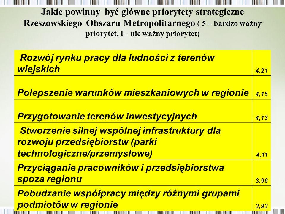 Jakie powinny być główne priorytety strategiczne Rzeszowskiego Obszaru Metropolitarnego ( 5 – bardzo ważny priorytet, 1 - nie ważny priorytet) Przejęcie roli promotora kontaktów gospodarczych z Ukrainą i Słowacją 3,76 Poszerzenie granic Rzeszowa 3,51 Inne 1,11 większy system ochrony rozwój turystyki promowanie nowopowstałych działalności gospodarczych, remont dróg miejsce rekreacji i wypoczynku