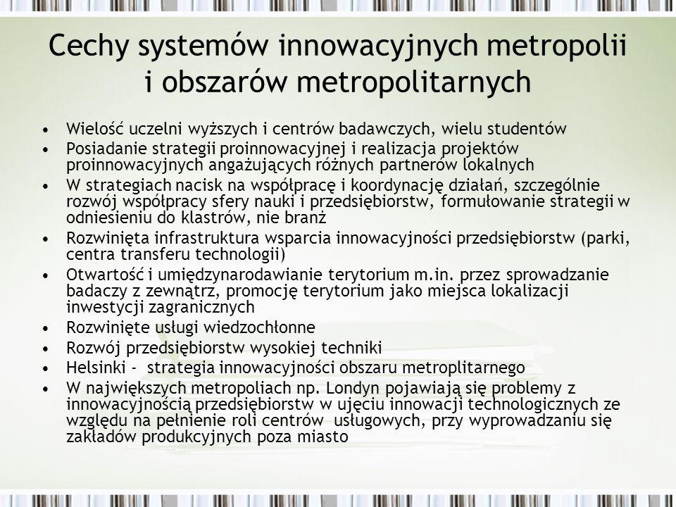 Cechy systemów innowacyjnych metropolii i obszarów metropolitarnych Wielość uczelni wyższych i centrów badawczych, wielu studentów Posiadanie strategi