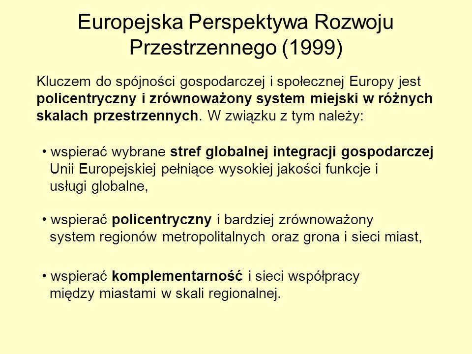 Europejska Perspektywa Rozwoju Przestrzennego (1999) Kluczem do spójności gospodarczej i społecznej Europy jest policentryczny i zrównoważony system m