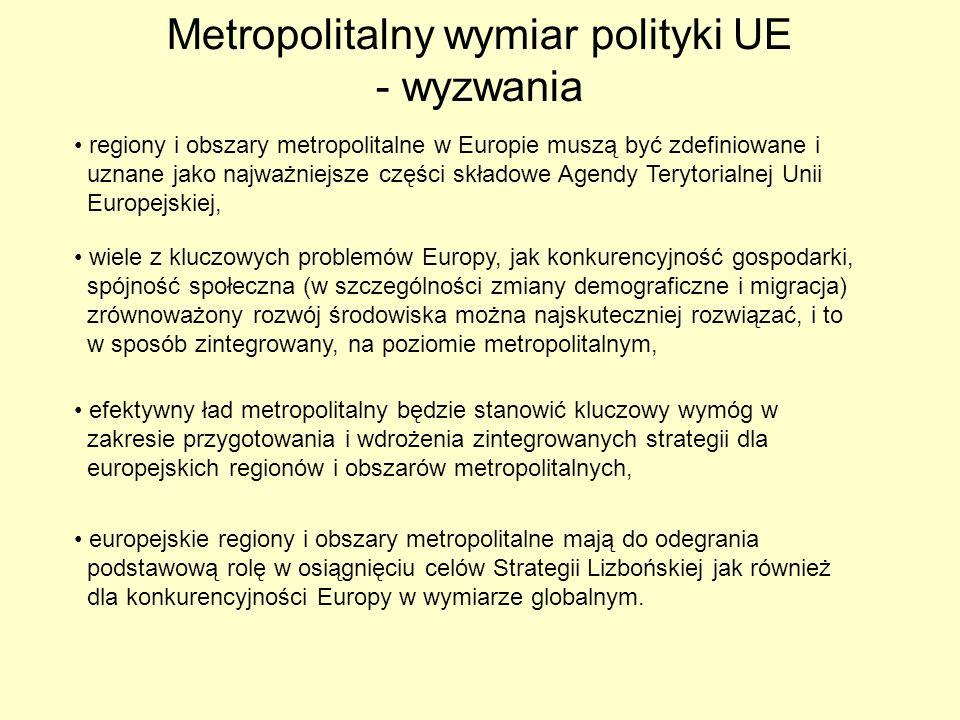 Metropolitalny wymiar polityki UE - wyzwania regiony i obszary metropolitalne w Europie muszą być zdefiniowane i uznane jako najważniejsze części skła