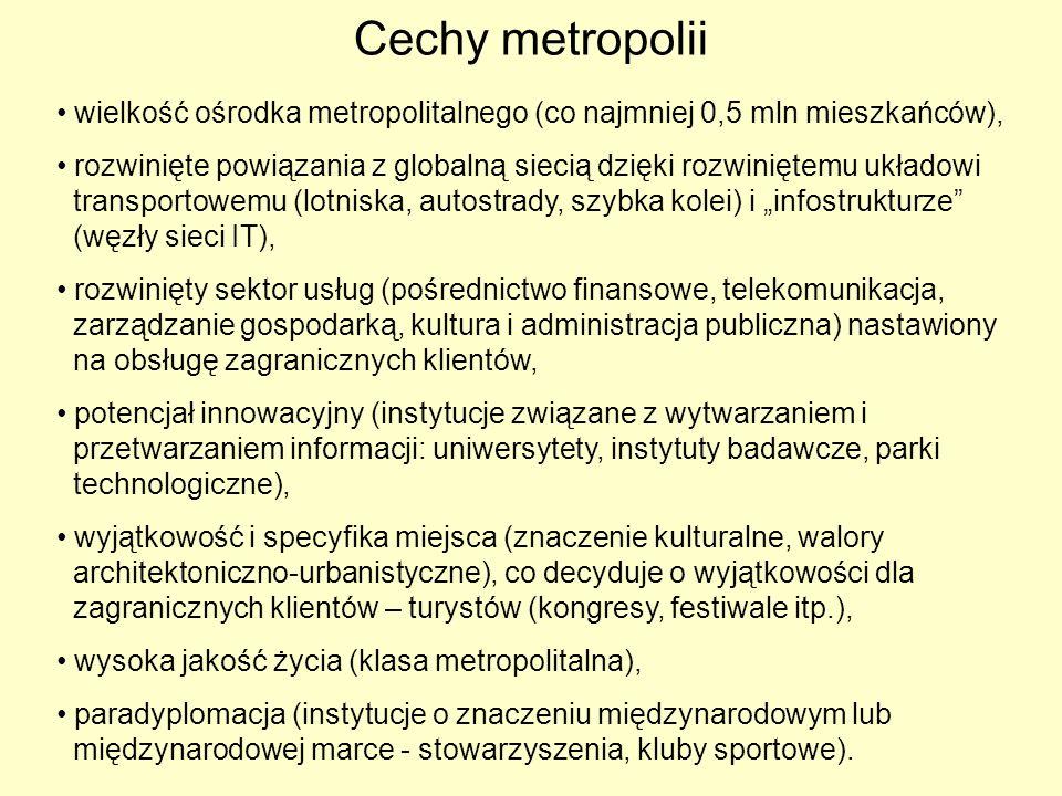 Cechy metropolii wielkość ośrodka metropolitalnego (co najmniej 0,5 mln mieszkańców), rozwinięte powiązania z globalną siecią dzięki rozwiniętemu ukła