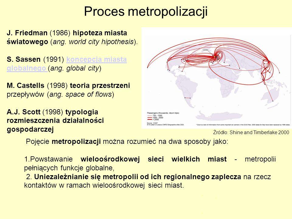 Proces metropolizacji J. Friedman (1986) hipoteza miasta światowego (ang. world city hipothesis). S. Sassen (1991) koncepcja miasta globalnego (ang. g