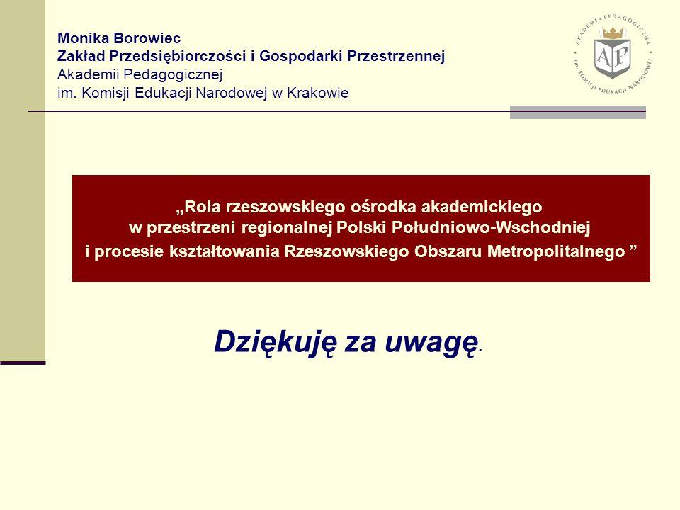 III. Ogólnopolska Metodyczna Konferencja Naukowa Rola przedsiębiorczości w aktywizacji gospodarczej Kraków, 9-10 października 2006 r. Rola rzeszowskie