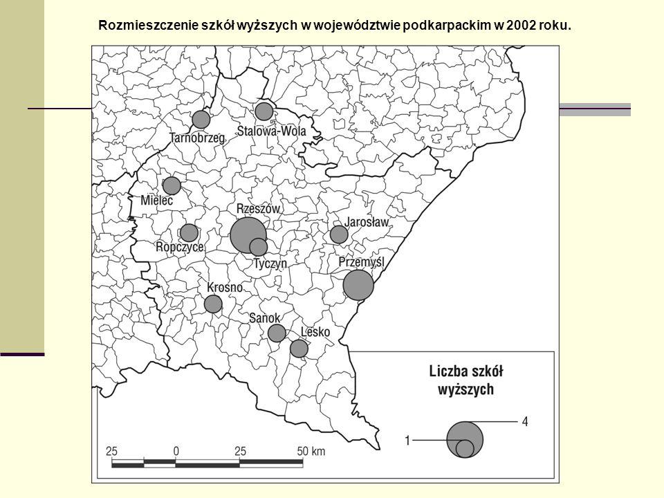 Rozmieszczenie szkół wyższych w województwie podkarpackim w 2002 roku.