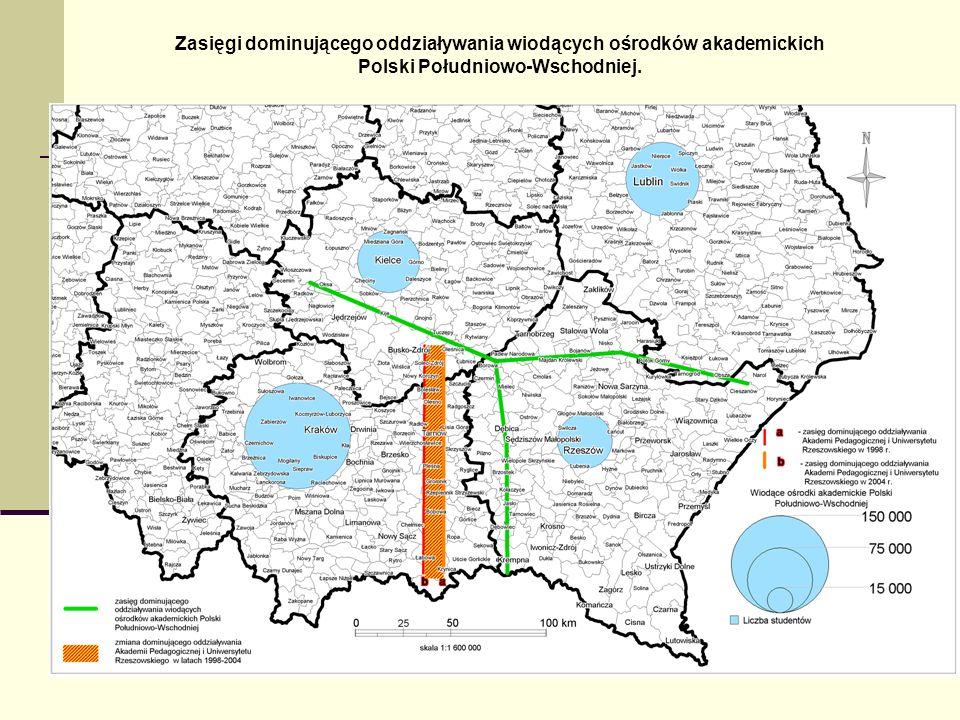 Zasięgi dominującego oddziaływania wiodących ośrodków akademickich Polski Południowo-Wschodniej.