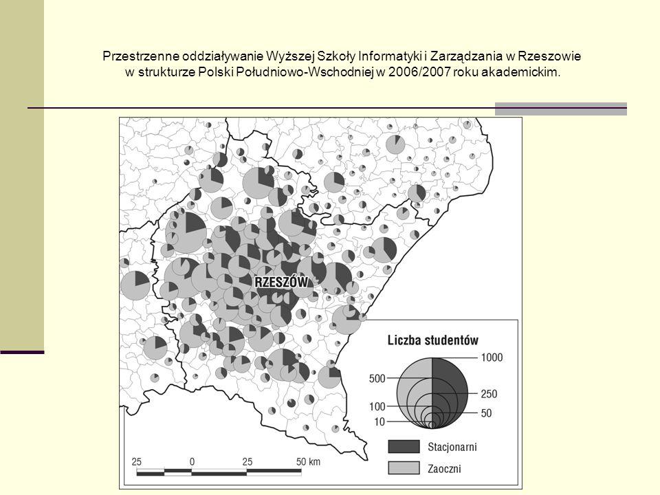 Przestrzenne oddziaływanie Wyższej Szkoły Informatyki i Zarządzania w Rzeszowie w strukturze Polski Południowo-Wschodniej w 2006/2007 roku akademickim.