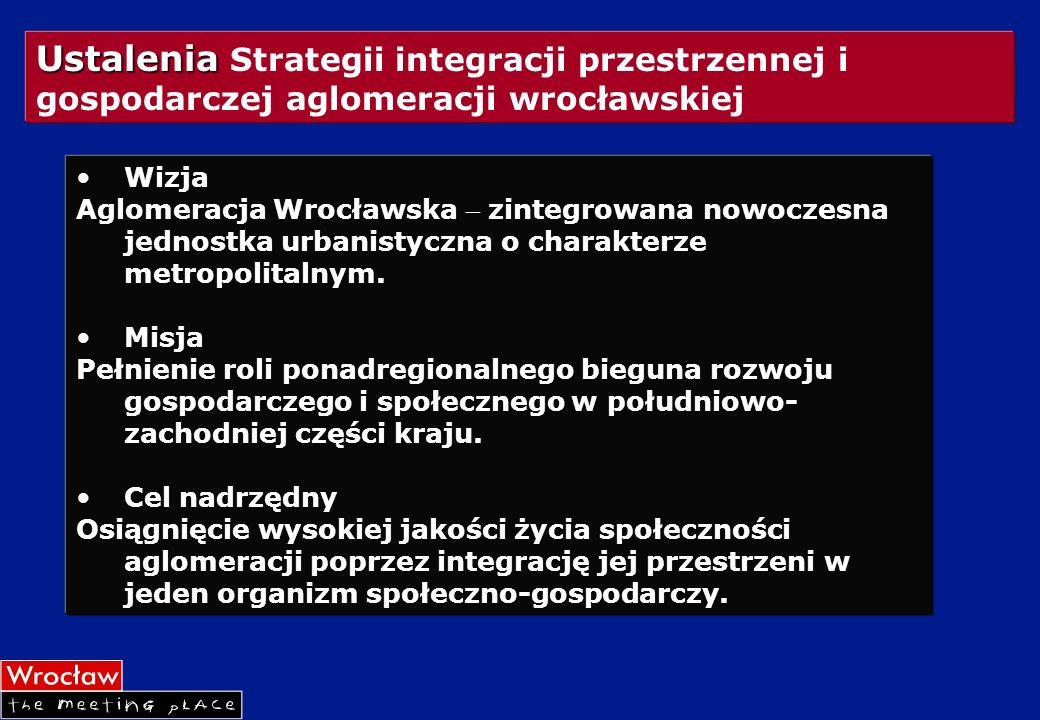 Ustalenia Ustalenia Strategii integracji przestrzennej i gospodarczej aglomeracji wrocławskiej Wizja Aglomeracja Wrocławska zintegrowana nowoczesna je