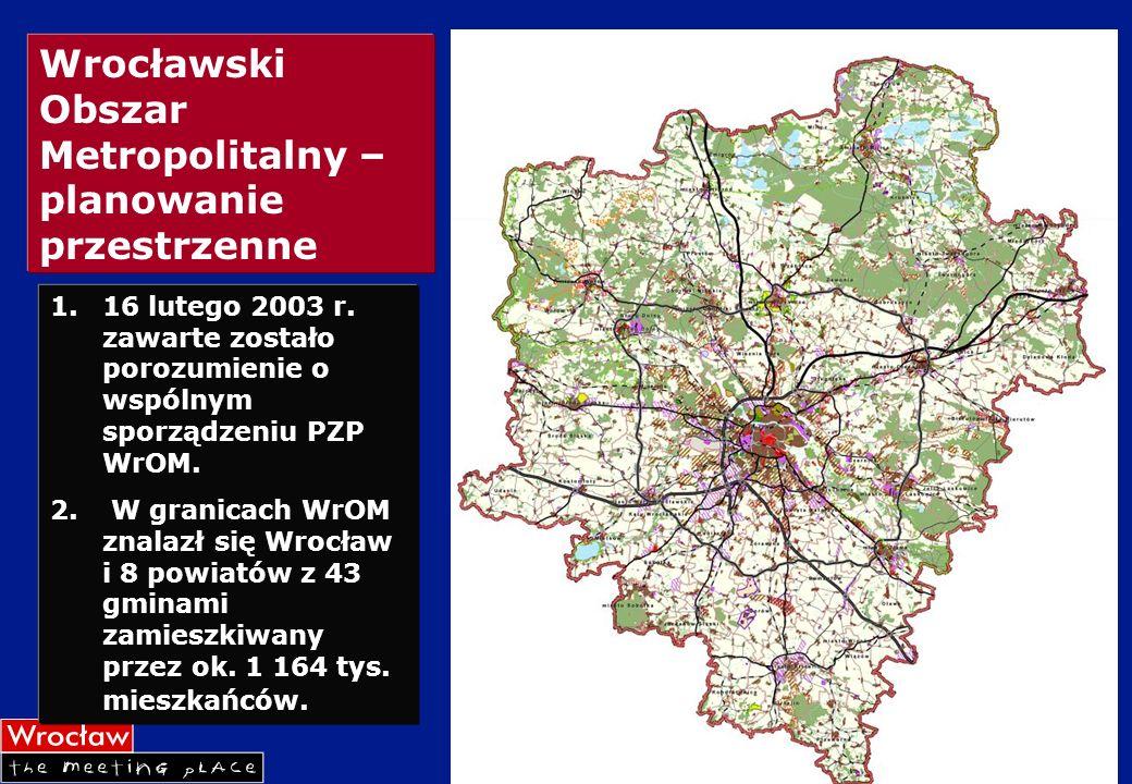 Wrocławski Obszar Metropolitalny – planowanie przestrzenne 1.16 lutego 2003 r. zawarte zostało porozumienie o wspólnym sporządzeniu PZP WrOM. 2. W gra