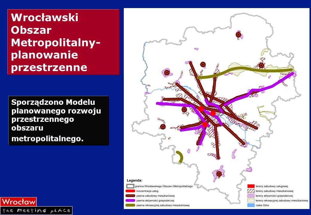 Wrocławski Obszar Metropolitalny- planowanie przestrzenne Sporządzono Modelu planowanego rozwoju przestrzennego obszaru metropolitalnego.