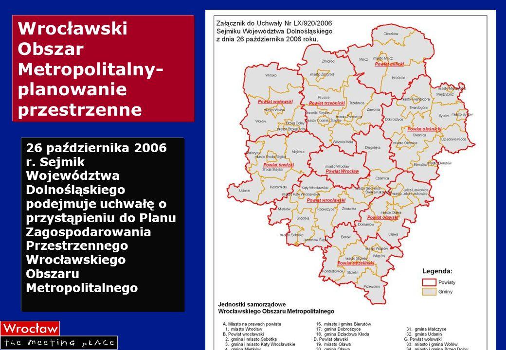Wrocławski Obszar Metropolitalny- planowanie przestrzenne 26 października 2006 r. Sejmik Województwa Dolnośląskiego podejmuje uchwałę o przystąpieniu