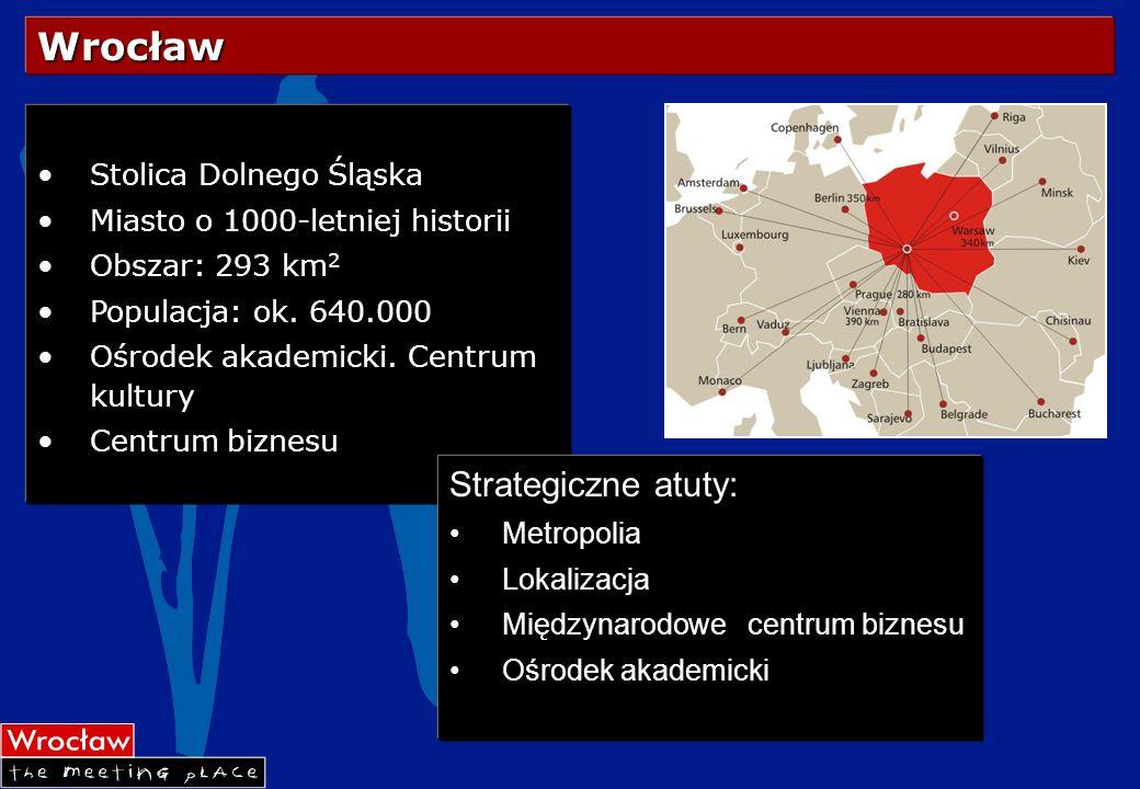 Wrocław Stolica Dolnego Śląska Miasto o 1000-letniej historii Obszar: 293 km 2 Populacja: ok. 640.000 Ośrodek akademicki. Centrum kultury Centrum bizn