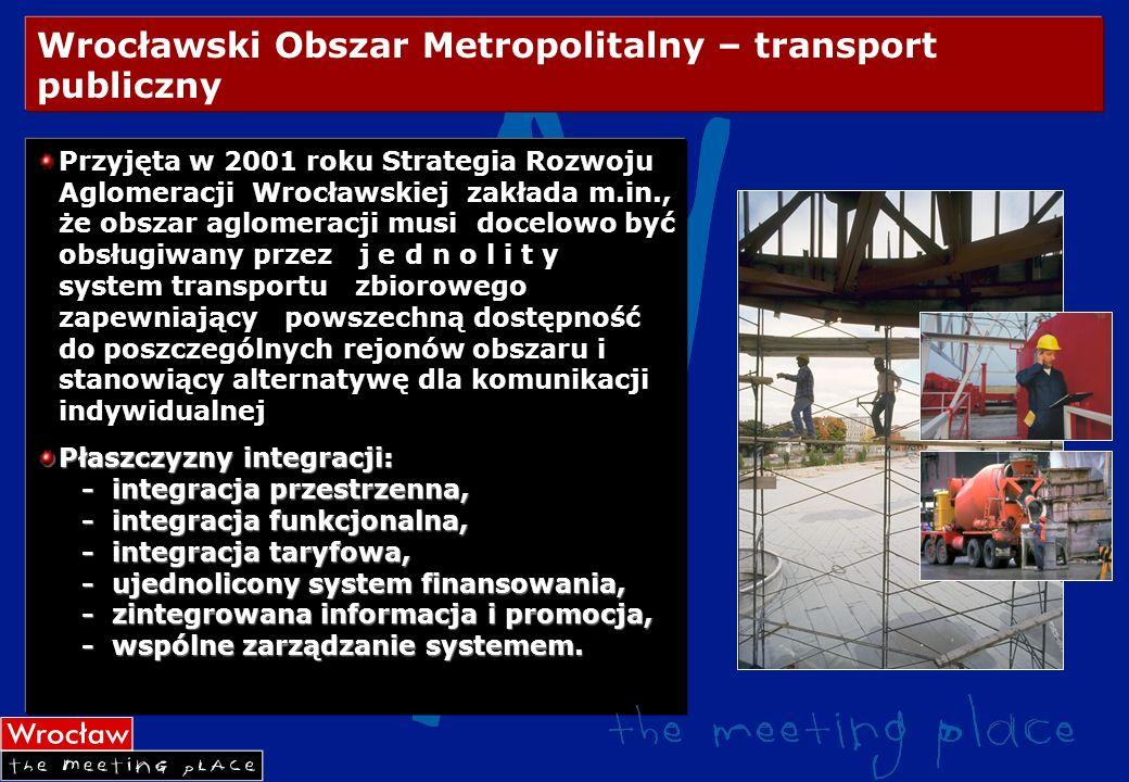 Wrocławski Obszar Metropolitalny – transport publiczny Przyjęta w 2001 roku Strategia Rozwoju Aglomeracji Wrocławskiej zakłada m.in., że obszar aglome