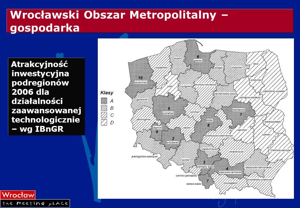 Wrocławski Obszar Metropolitalny – gospodarka Atrakcyjność inwestycyjna podregionów 2006 dla działalności zaawansowanej technologicznie – wg IBnGR