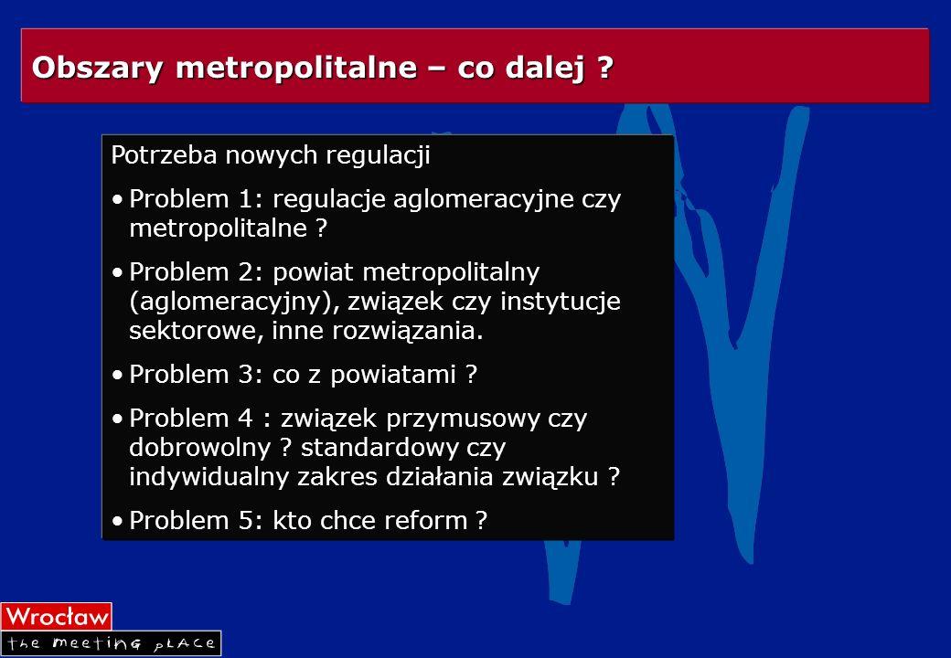 Potrzeba nowych regulacji Problem 1: regulacje aglomeracyjne czy metropolitalne ? Problem 2: powiat metropolitalny (aglomeracyjny), związek czy instyt