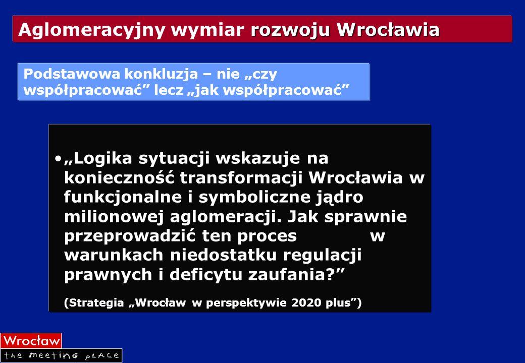 rozwoju Wrocławia Aglomeracyjny wymiar rozwoju Wrocławia Logika sytuacji wskazuje na konieczność transformacji Wrocławia w funkcjonalne i symboliczne