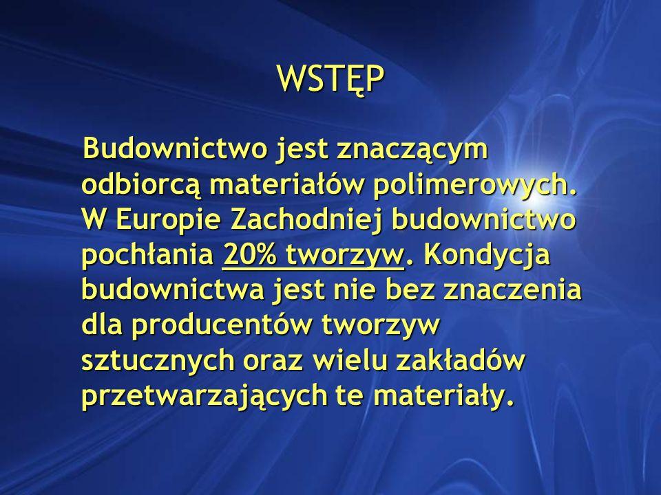 WSTĘP Budownictwo jest znaczącym odbiorcą materiałów polimerowych. W Europie Zachodniej budownictwo pochłania 20% tworzyw. Kondycja budownictwa jest n
