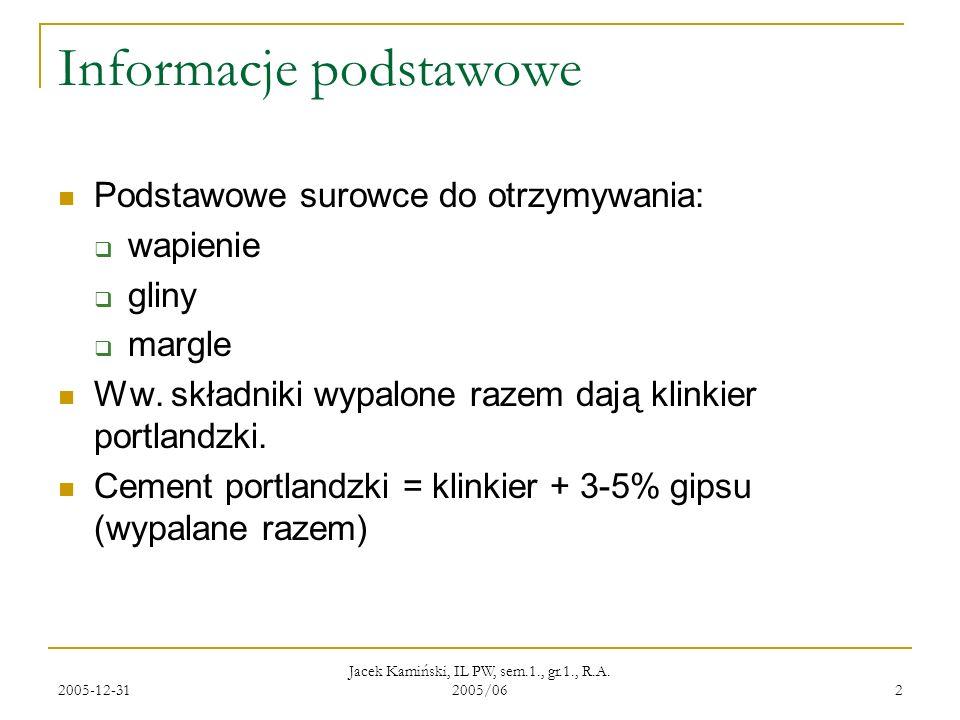 2005-12-31 Jacek Kamiński, IL PW, sem.1., gr.1., R.A. 2005/06 2 Informacje podstawowe Podstawowe surowce do otrzymywania: wapienie gliny margle Ww. sk