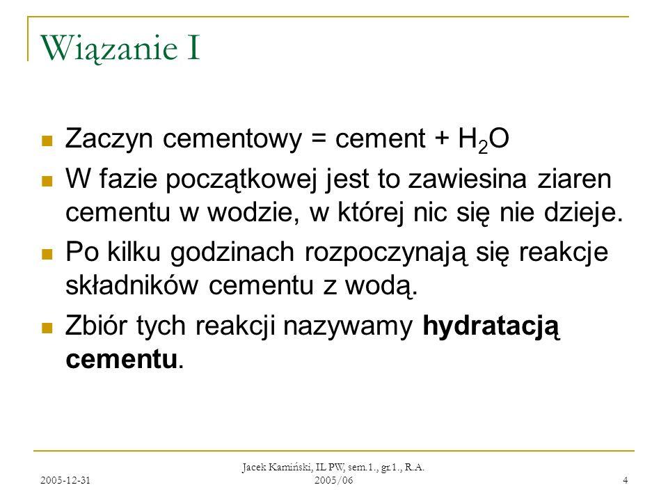 2005-12-31 Jacek Kamiński, IL PW, sem.1., gr.1., R.A. 2005/06 4 Wiązanie I Zaczyn cementowy = cement + H 2 O W fazie początkowej jest to zawiesina zia