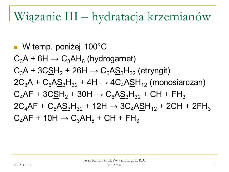 2005-12-31 Jacek Kamiński, IL PW, sem.1., gr.1., R.A. 2005/06 6 Wiązanie III – hydratacja krzemianów W temp. poniżej 100°C C 3 A + 6H C 3 AH 6 (hydrog