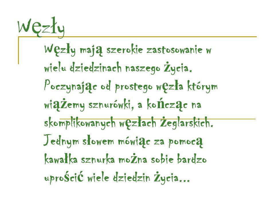 W ę z ł y harcerskie mo ż emy stosowa ć do wielu zaj ęć : Podczas budowania ró ż nych elementów z drewna Kiedy jest potrzeba zrobienia ró ż a ń ca Gdy trzeba pomóc drugiemu cz ł owiekowi Do wi ą zania sza ł asu Mo ż na na nim powiesi ć równie ż pranie Poni ż ej przedstawiam kilka podstawowych w ę z ł ów, które maj ą praktyczne zastosowanie: