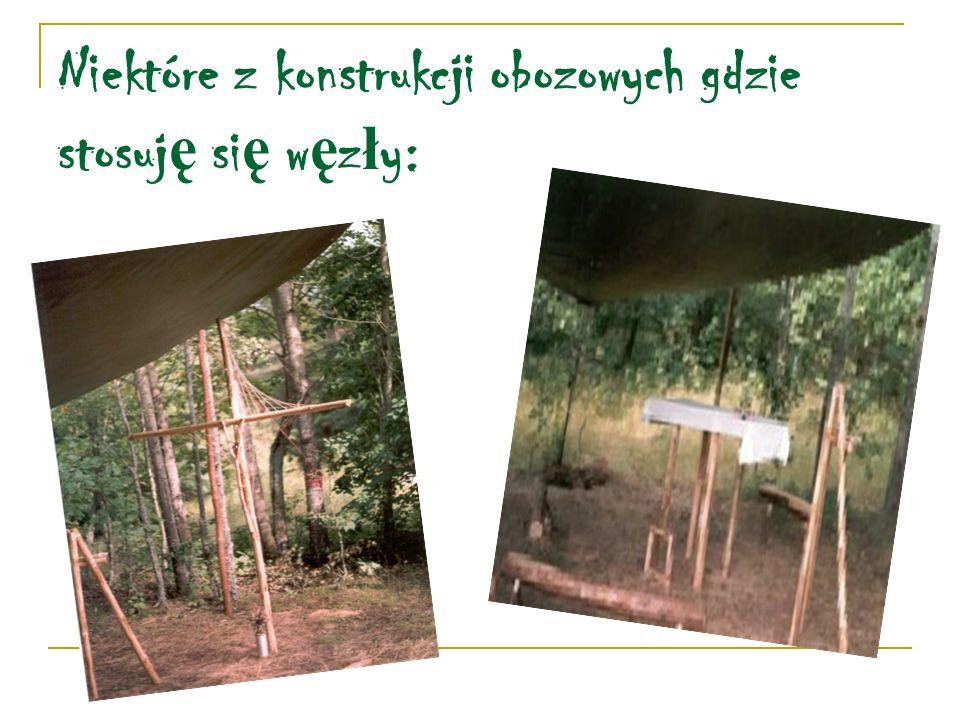 Niektóre z konstrukcji obozowych gdzie stosuj ę si ę w ę z ł y: