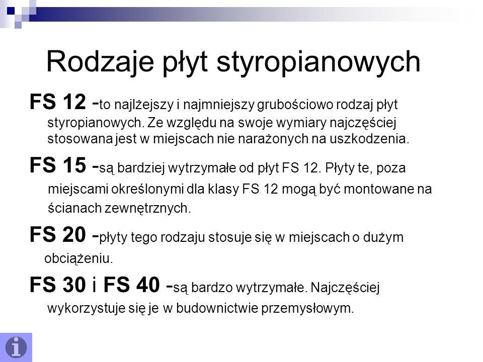 Rodzaje płyt styropianowych FS 12 - to najlżejszy i najmniejszy grubościowo rodzaj płyt styropianowych. Ze względu na swoje wymiary najczęściej stosow