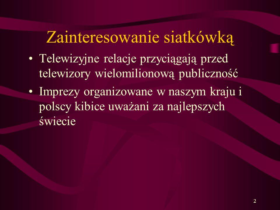 2 Zainteresowanie siatkówką Telewizyjne relacje przyciągają przed telewizory wielomilionową publiczność Imprezy organizowane w naszym kraju i polscy k