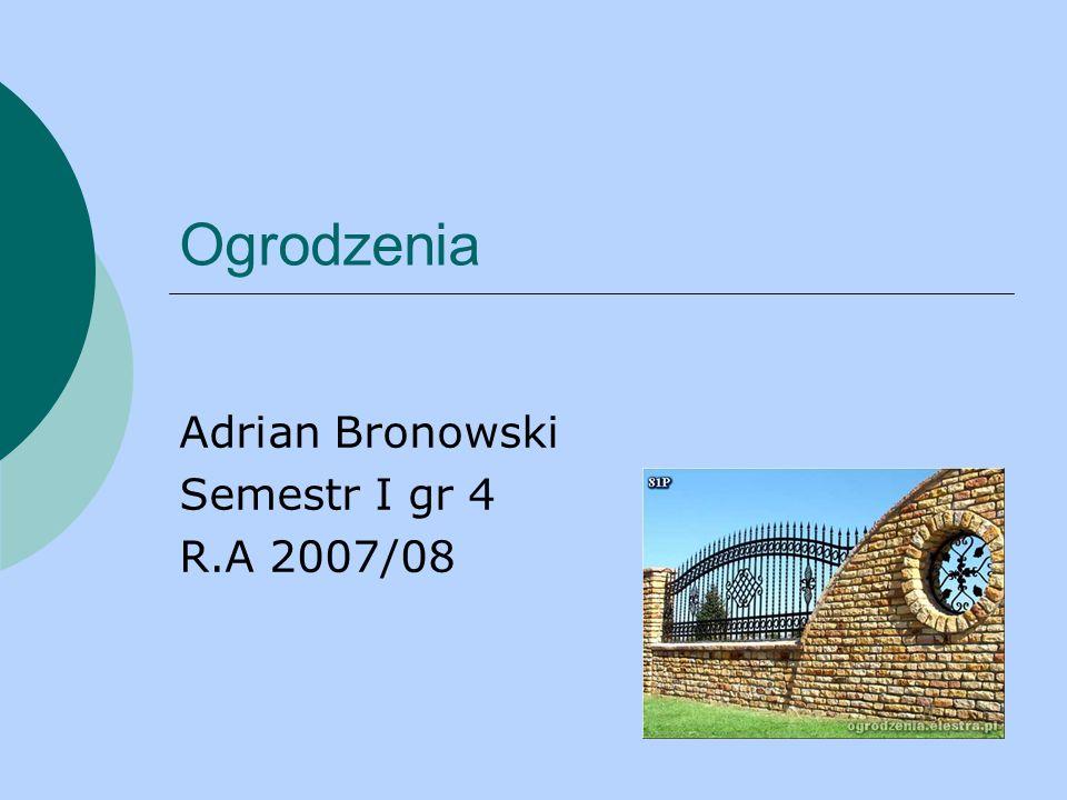Ogrodzenia Adrian Bronowski Semestr I gr 4 R.A 2007/08