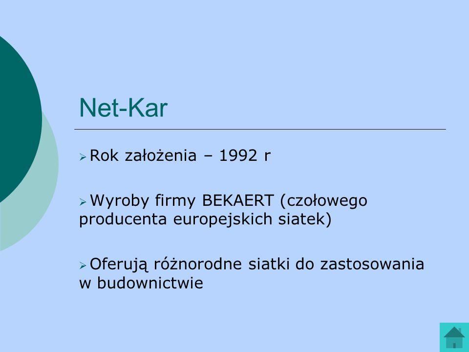 Net-Kar Rok założenia – 1992 r Wyroby firmy BEKAERT (czołowego producenta europejskich siatek) Oferują różnorodne siatki do zastosowania w budownictwi