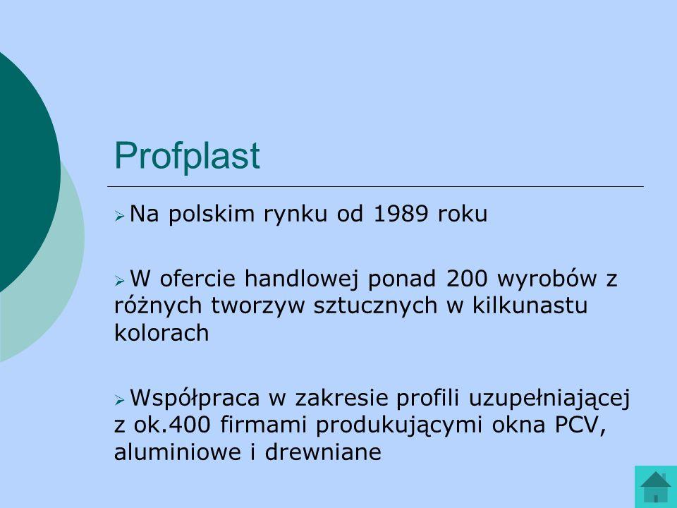 Profplast Na polskim rynku od 1989 roku W ofercie handlowej ponad 200 wyrobów z różnych tworzyw sztucznych w kilkunastu kolorach Współpraca w zakresie