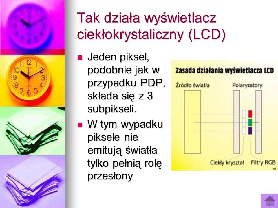Tak działa wyświetlacz ciekłokrystaliczny (LCD) Jeden piksel, podobnie jak w przypadku PDP, składa się z 3 subpikseli. Jeden piksel, podobnie jak w pr