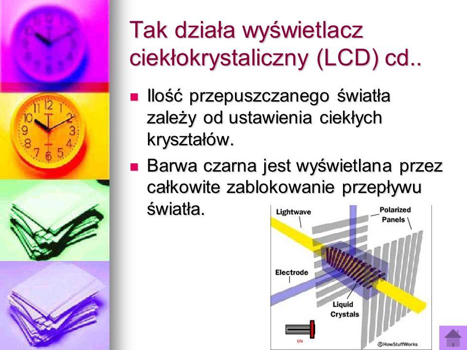 Tak działa wyświetlacz ciekłokrystaliczny (LCD) cd.. Ilość przepuszczanego światła zależy od ustawienia ciekłych kryształów. Ilość przepuszczanego świ