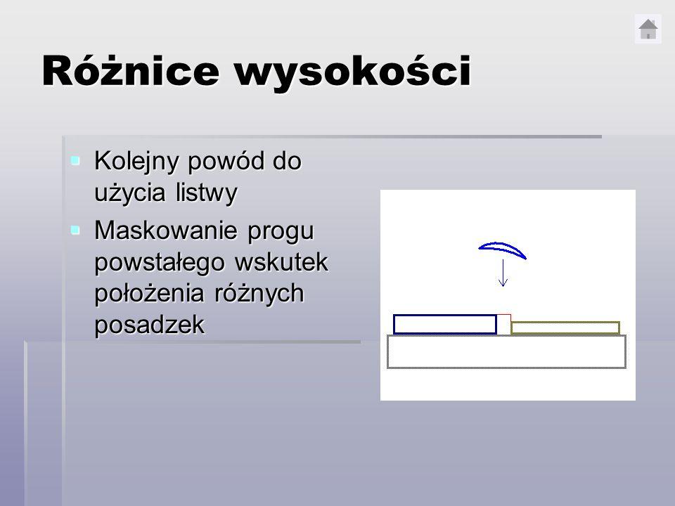 Różnice wysokości Kolejny powód do użycia listwy Kolejny powód do użycia listwy Maskowanie progu powstałego wskutek położenia różnych posadzek Maskowa