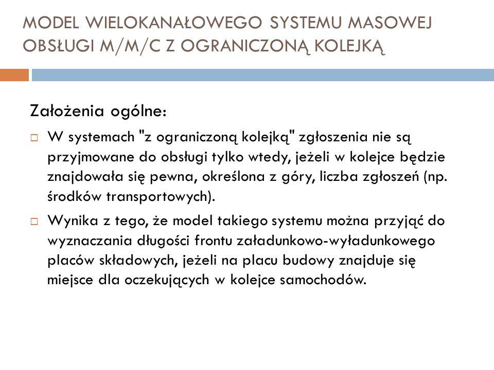 MODEL WIELOKANAŁOWEGO SYSTEMU MASOWEJ OBSŁUGI M/M/C Z OGRANICZONĄ KOLEJKĄ Założenia ogólne: W systemach
