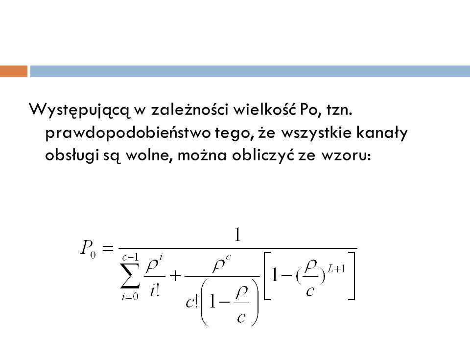Występującą w zależności wielkość Po, tzn. prawdopodobieństwo tego, że wszystkie kanały obsługi są wolne, można obliczyć ze wzoru: