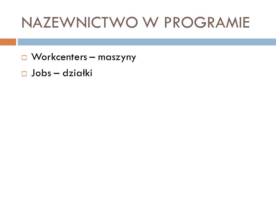 NAZEWNICTWO W PROGRAMIE Workcenters – maszyny Jobs – działki
