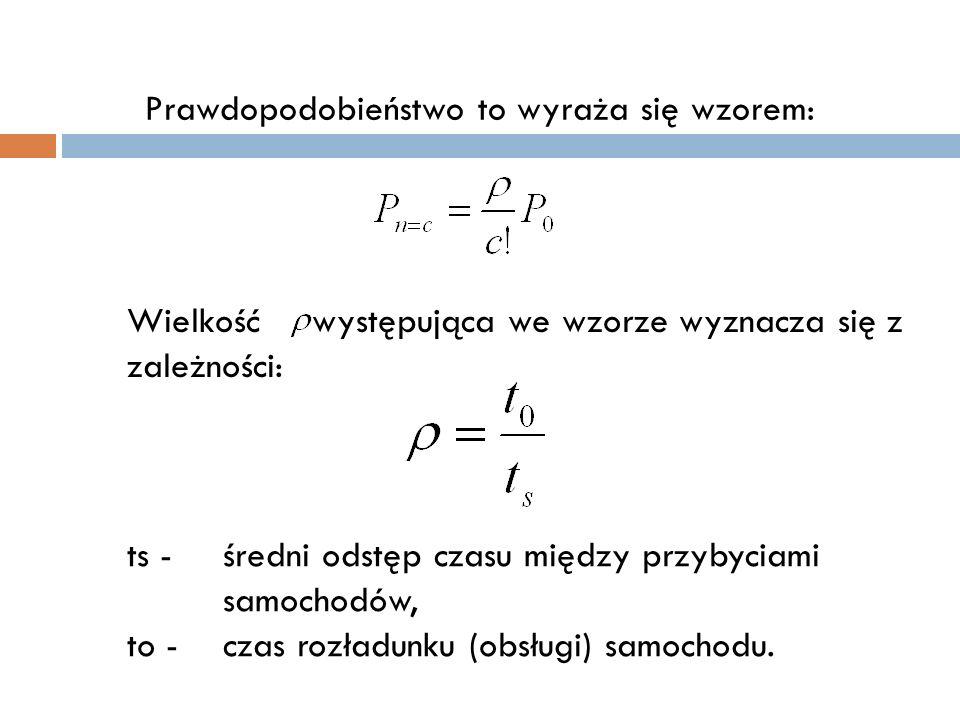 Prawdopodobieństwo to wyraża się wzorem: Wielkość występująca we wzorze wyznacza się z zależności: ts - średni odstęp czasu między przybyciami samocho