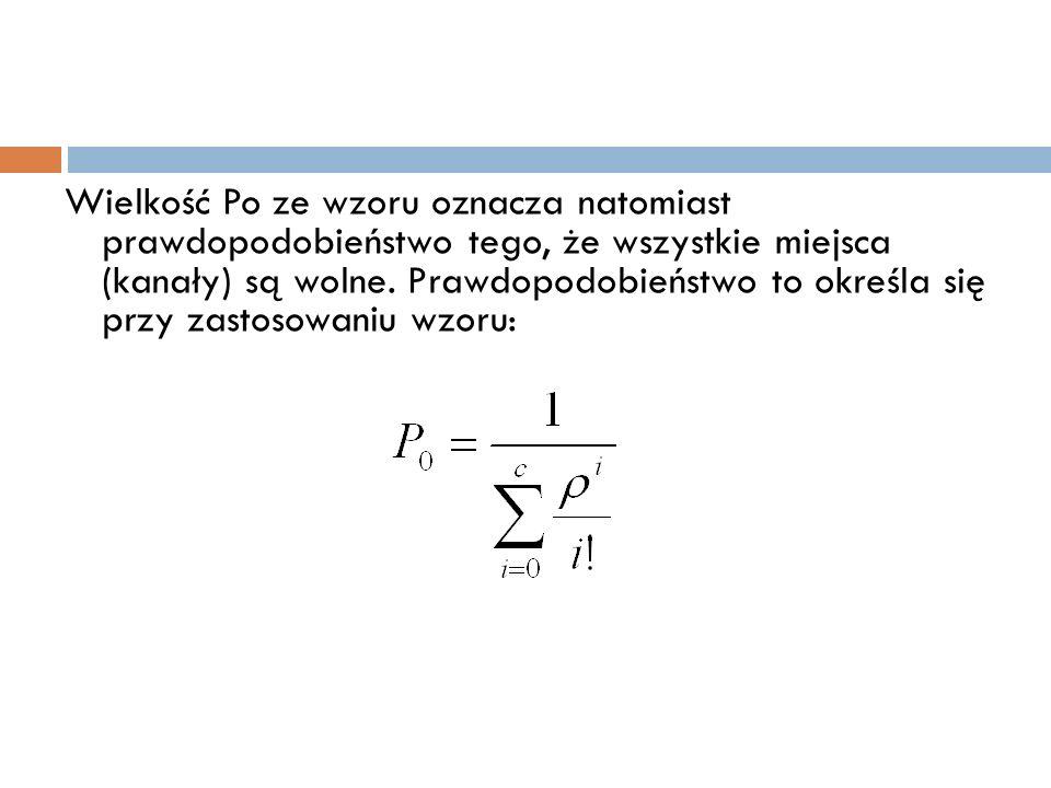 Wielkość Po ze wzoru oznacza natomiast prawdopodobieństwo tego, że wszystkie miejsca (kanały) są wolne. Prawdopodobieństwo to określa się przy zastoso