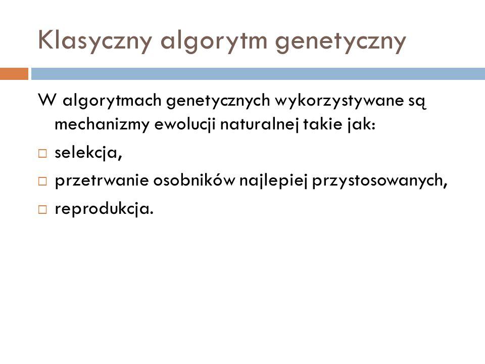 Klasyczny algorytm genetyczny W algorytmach genetycznych wykorzystywane są mechanizmy ewolucji naturalnej takie jak: selekcja, przetrwanie osobników n