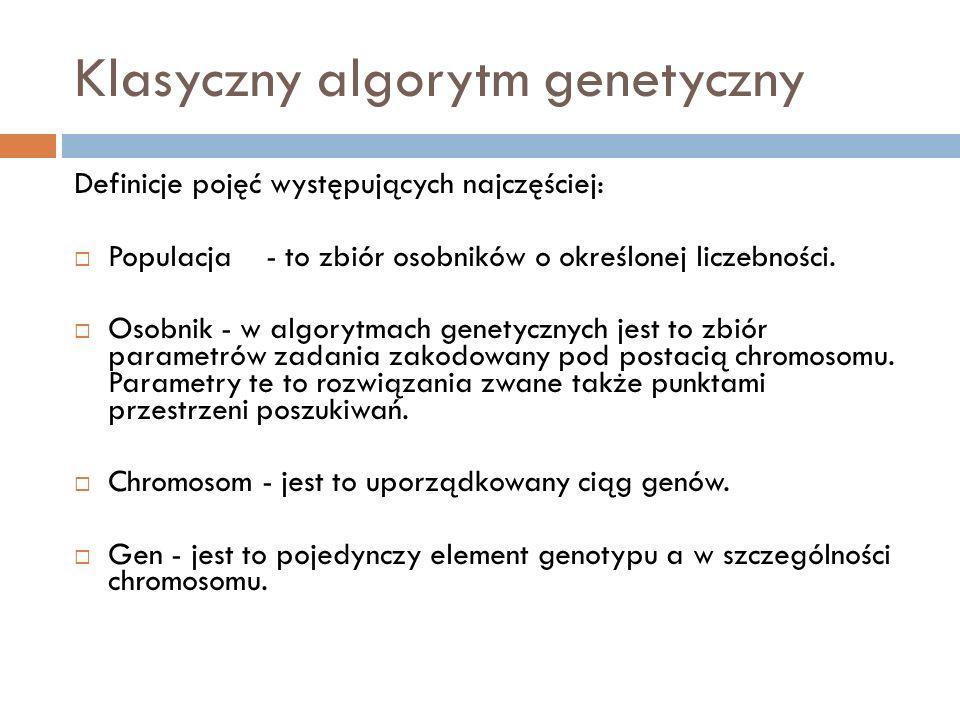 Klasyczny algorytm genetyczny Definicje pojęć występujących najczęściej: Populacja- to zbiór osobników o określonej liczebności. Osobnik - w algorytma