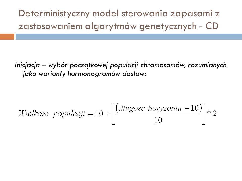 Deterministyczny model sterowania zapasami z zastosowaniem algorytmów genetycznych - CD Inicjacja – wybór początkowej populacji chromosomów, rozumiany