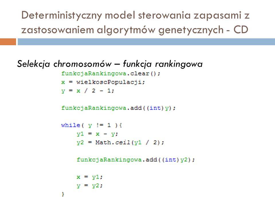 Deterministyczny model sterowania zapasami z zastosowaniem algorytmów genetycznych - CD Selekcja chromosomów – funkcja rankingowa